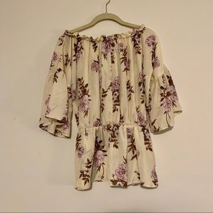 Off Shoulder Yellow Floral Blouse
